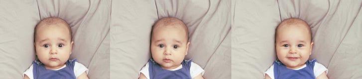 Três expressões diferentes do bebê Imagem de Stock
