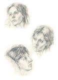 Três faces de 1 mulher ilustração royalty free