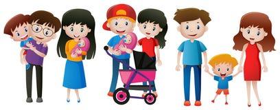 Três famílias com crianças Fotografia de Stock