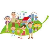 Três famílias da geração que montam nas folhas ilustração royalty free