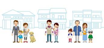 Três famílias e casas novas ilustração do vetor