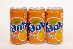 Três FANTA Orange Softdrink Imagens de Stock