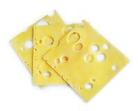 Três fatias do queijo Fotos de Stock Royalty Free