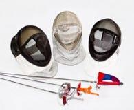 Três fencings e armaduras imagens de stock