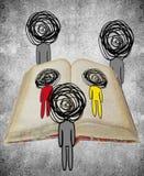 Três figuras humanas que olham uma ilustração digital do conceito do conhecimento do livro Fotografia de Stock