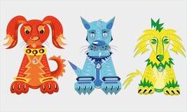 Três filhotes de cachorro dos elementos. ilustração royalty free