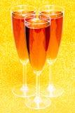 Três flautas de champanhe cor-de-rosa Imagens de Stock Royalty Free
