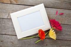 Três flores do gerbera e quadros coloridos da foto Fotos de Stock