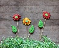 Três flores do pão-de-espécie com grama de papel na parte traseira de madeira rústica Fotografia de Stock