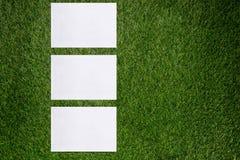 Três folhas de papel brancas que encontram-se na grama verde Imagem de Stock