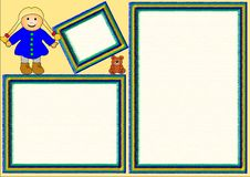 Três frames com brinquedos ilustração royalty free