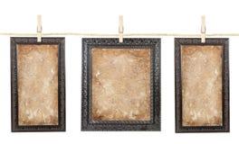 Três frames com papel envelhecido em uma linha foto de stock royalty free
