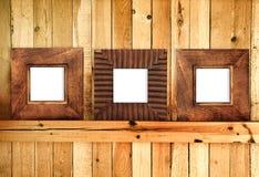 Três frames de madeira imagem de stock