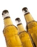 Três frascos da cerveja com gotas da água Fotos de Stock Royalty Free