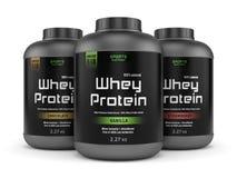 Três frascos da proteína do soro isolados no branco Fotos de Stock Royalty Free