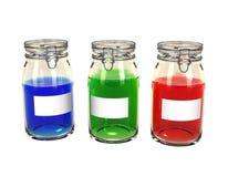 Três frascos de preservação alinhados Imagem de Stock Royalty Free