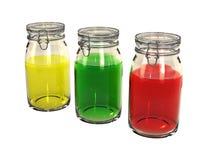 Três frascos de preservação coloridos Fotos de Stock