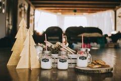 Três frascos do leite fotografia de stock royalty free