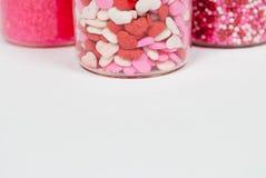 Três frascos do Valentim polvilham fotos de stock