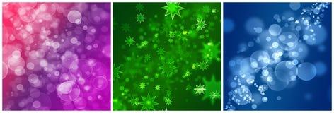 Três fundos abstratos com estrelas e bulbos Fotografia de Stock Royalty Free