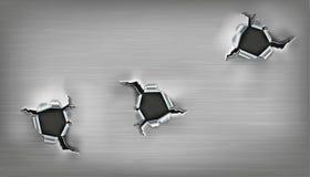 Três furos ásperos no metal ilustração stock