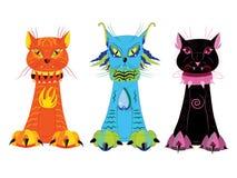 Três gatos da natureza. ilustração do vetor