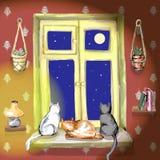 Três gatos na janela ilustração royalty free