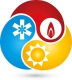 Três gotas com logotipo da água, da neve e do sol, do condicionamento de ar e do encanamento Fotografia de Stock Royalty Free