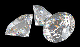 Três grandes diamantes brilhantes do corte Fotografia de Stock