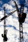 Três guindastes de torre Fotos de Stock Royalty Free