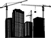 Três guindastes e edifícios ilustração do vetor