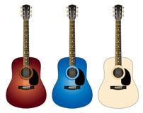 Três guitarra coloridas Fotos de Stock Royalty Free