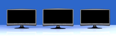 Três HDTVs Imagem de Stock Royalty Free