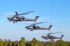 Três helicópteros de ataque em voo Foto de Stock Royalty Free