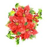 Três hibiscus da aquarela com folha e Imagem de Stock Royalty Free
