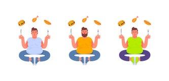 Três homens gordos em uma pose da meditação com uma forquilha e uma faca em suas mãos Gordo e comida lixo Hamburguer, cachorro qu ilustração stock