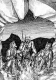 Três homens-lobo perto do fogo na caverna Foto de Stock Royalty Free
