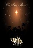 Três homens sábios estão visitando Jesus Christ após seu nascimento ilustração do vetor