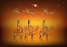Três homens sábios estão visitando Jesus Christ após seu nascimento Fotografia de Stock Royalty Free