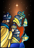 Três homens sábios estão visitando Jesus Christ após seu nascimento Fotografia de Stock