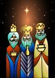 Três homens sábios estão visitando Jesus Christ após seu nascimento Imagem de Stock Royalty Free