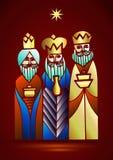 Três homens sábios estão visitando Jesus Christ após seu nascimento Fotos de Stock Royalty Free
