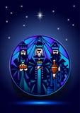 Três homens sábios estão visitando Jesus Christ após seu nascimento Imagem de Stock