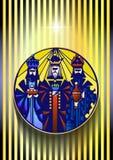 Três homens sábios estão visitando Jesus Christ após seu nascimento Imagens de Stock