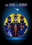 Três homens sábios estão visitando Jesus Christ após seu nascimento Fotos de Stock
