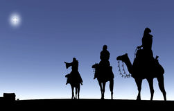 Três homens sábios que seguem uma estrela ilustração royalty free