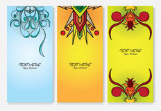 três insetos dos projetos da bandeira Fotografia de Stock Royalty Free