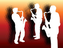 Três jogadores de saxofone ilustração royalty free