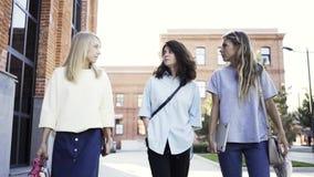 Três jovens mulheres são de passeio e de riso após o trabalho em um dia de verão vídeos de arquivo