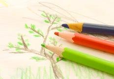 Três lápis Fotografia de Stock